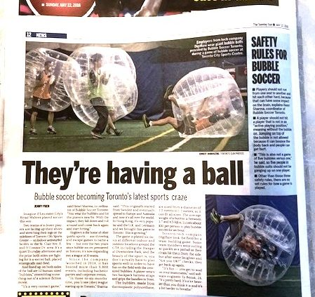 Bubble Soccer Toronto - In Toronto SUN, 2016